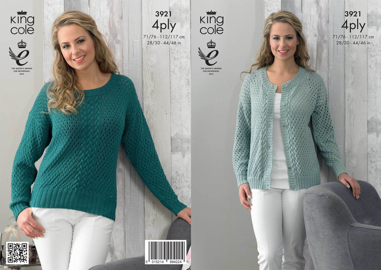 4 Ply Cotton Knitting Patterns : King Cole 3921 Knitting Pattern Cardigan and Sweater in King Cole Bamboo Cott...