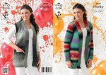 King Cole 3959 Knitting Pattern Cardigan and Waistcoat in King Cole Riot Chunky