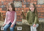 King Cole 3976 Knitting Pattern Cardigan and Waistcoat in King Cole Big Value Aran