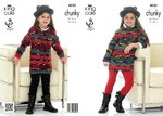 King Cole 4030 Knitting Pattern Girls' Sweater Dresses in King Cole Big Value Chunky