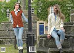 King Cole 4014 Knitting Pattern Cardigan, Waistcoat and Easy Knit Tube Socks in King Cole Masham DK