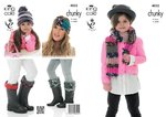 King Cole 4032  Knitting Pattern Scarf. Hat. Headband and Welly Topper in Big Value Multi Chunky