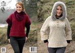 King Cole 4061 Knitting Pattern Sweater with Hood & Top with Separate Cowl in Aran & Luxe Fur
