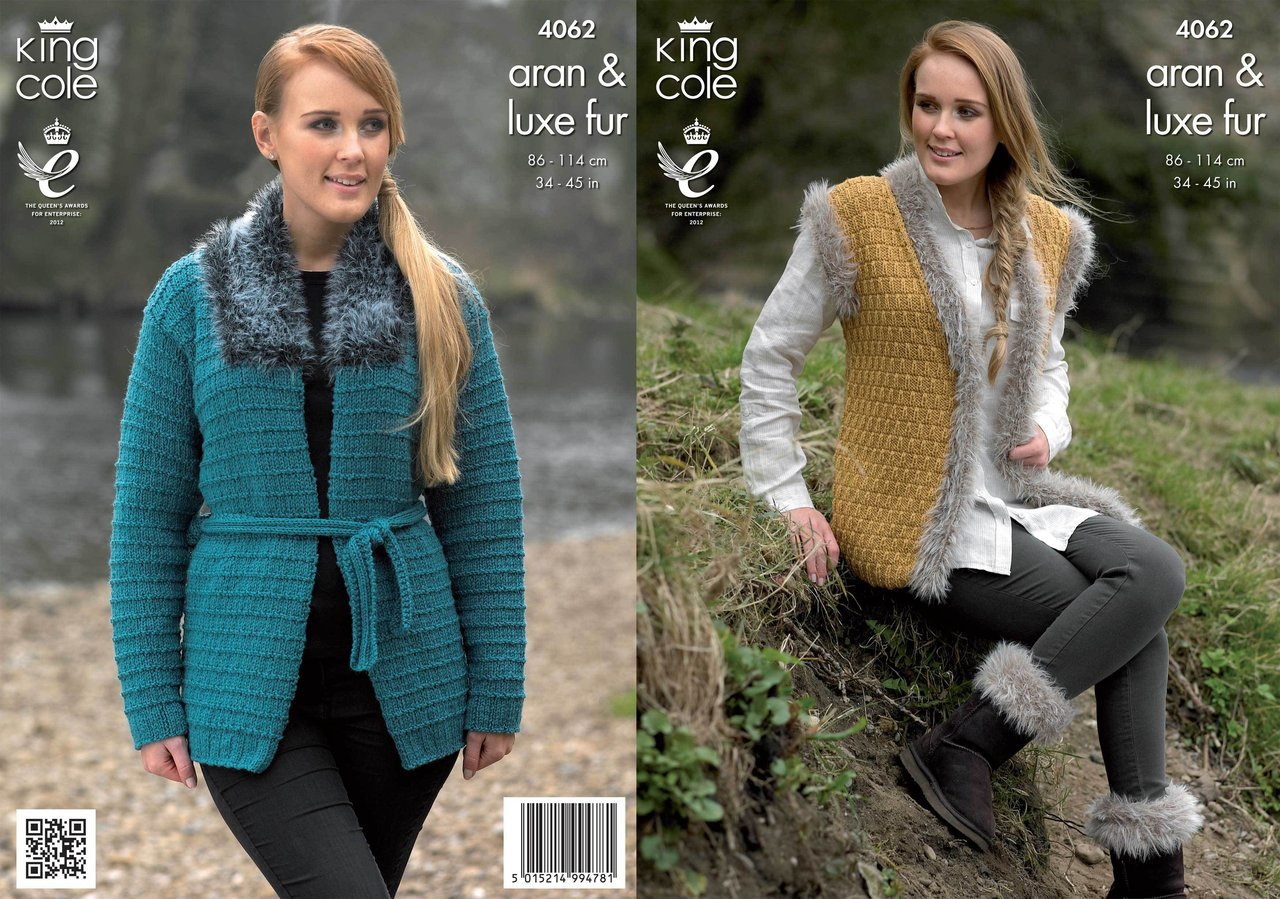 Knitting Pattern Gilet Aran : King Cole 4062 Knitting Pattern Jacket, Gilet and Boot Toppers in King Cole A...