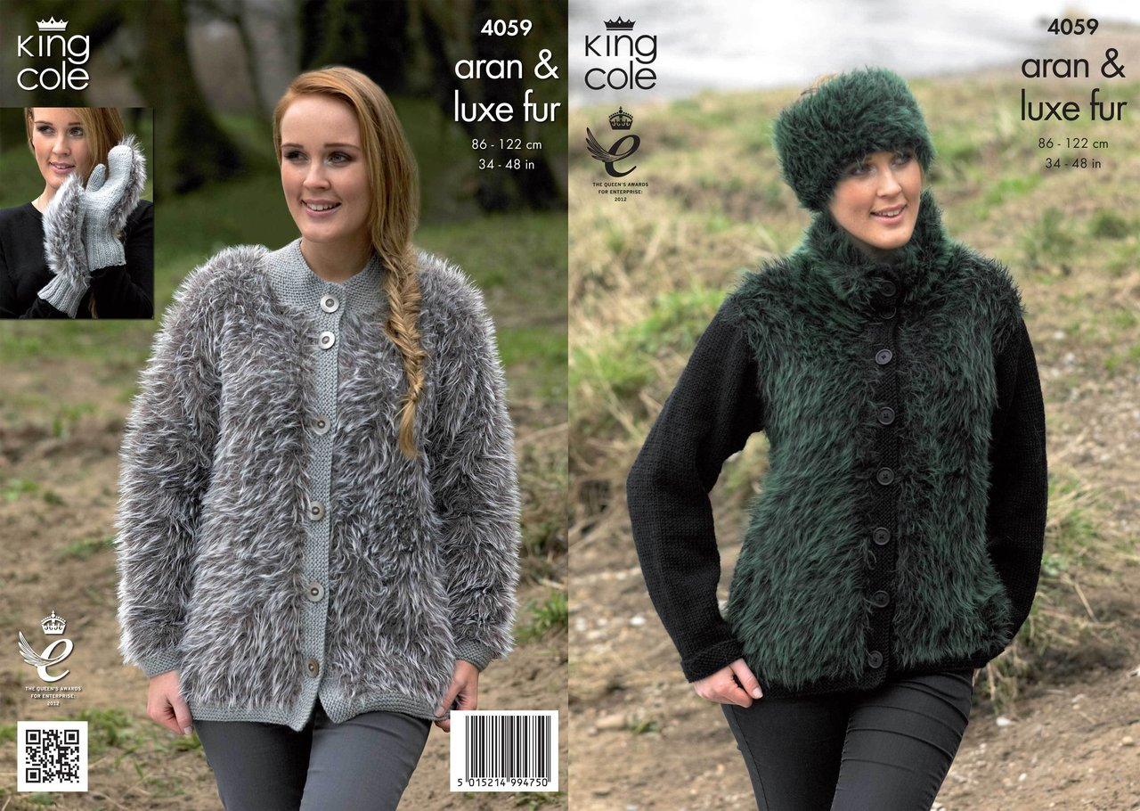 King Cole 4059 Knitting Pattern Jackets, Mittens and Headband in King Cole Ar...