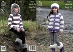King Cole 4058 Knitting Pattern Jacket, Sweater with Hood, Hat & Boot Toppers in Aran & Luxe Fur