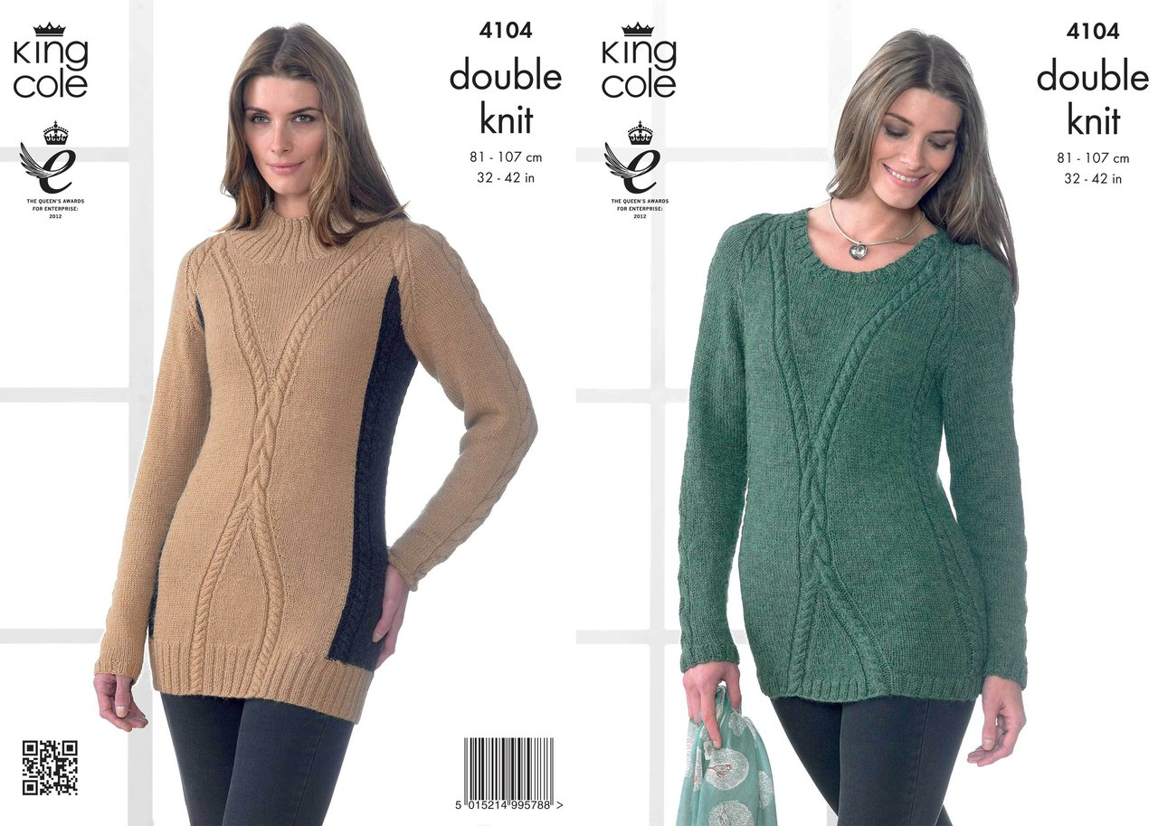 King Cole 4104 Knitting Pattern Sweater and Tunic in King ...