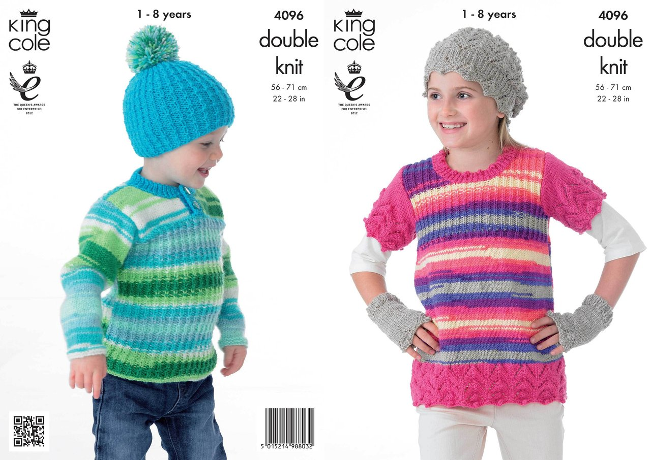 Knitting Patterns For Tunic Sweaters : King Cole 4096 Knitting Pattern Tunic, Sweater, Hats and ...