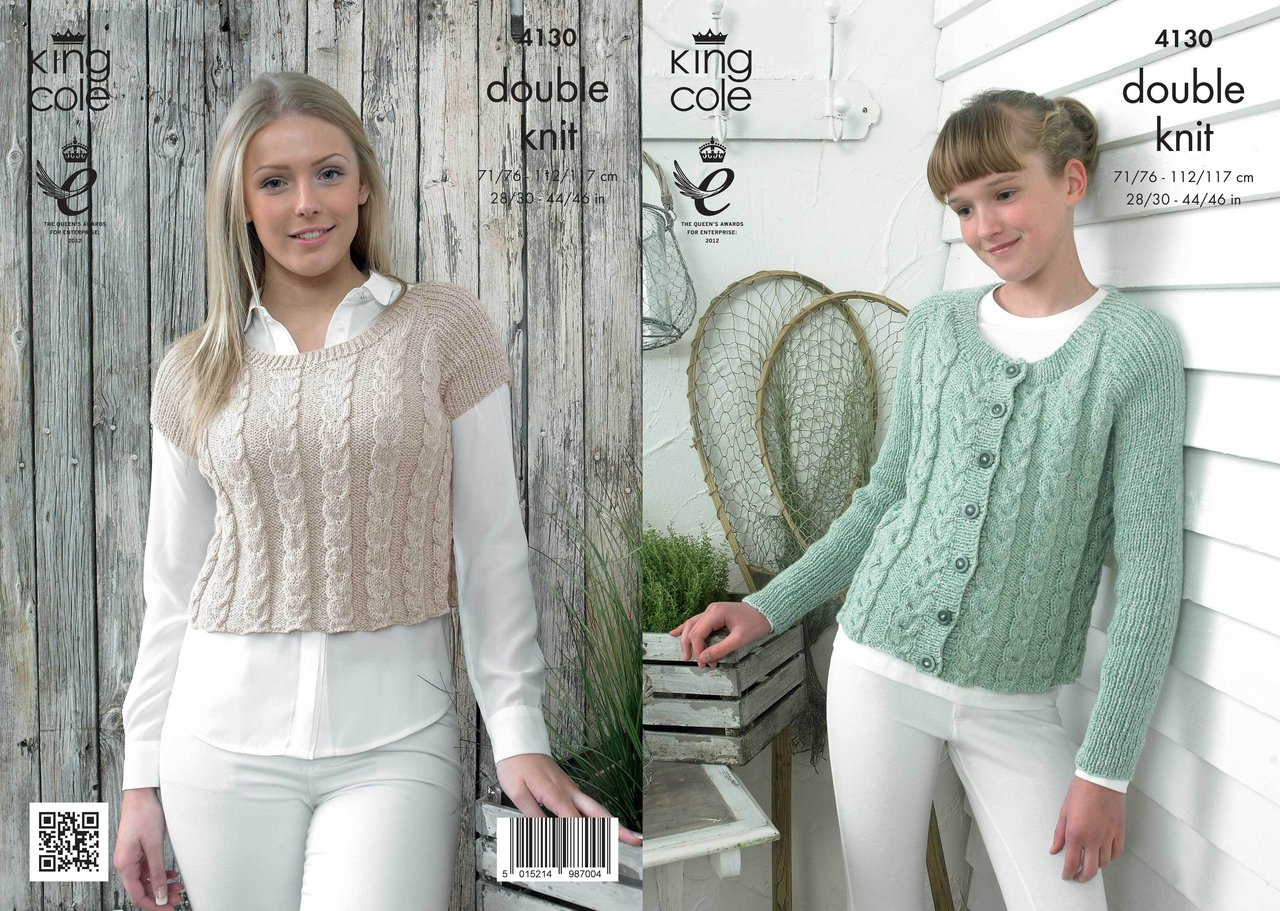 King Cole 4130 Knitting Pattern Ladies Fitted Top and ...