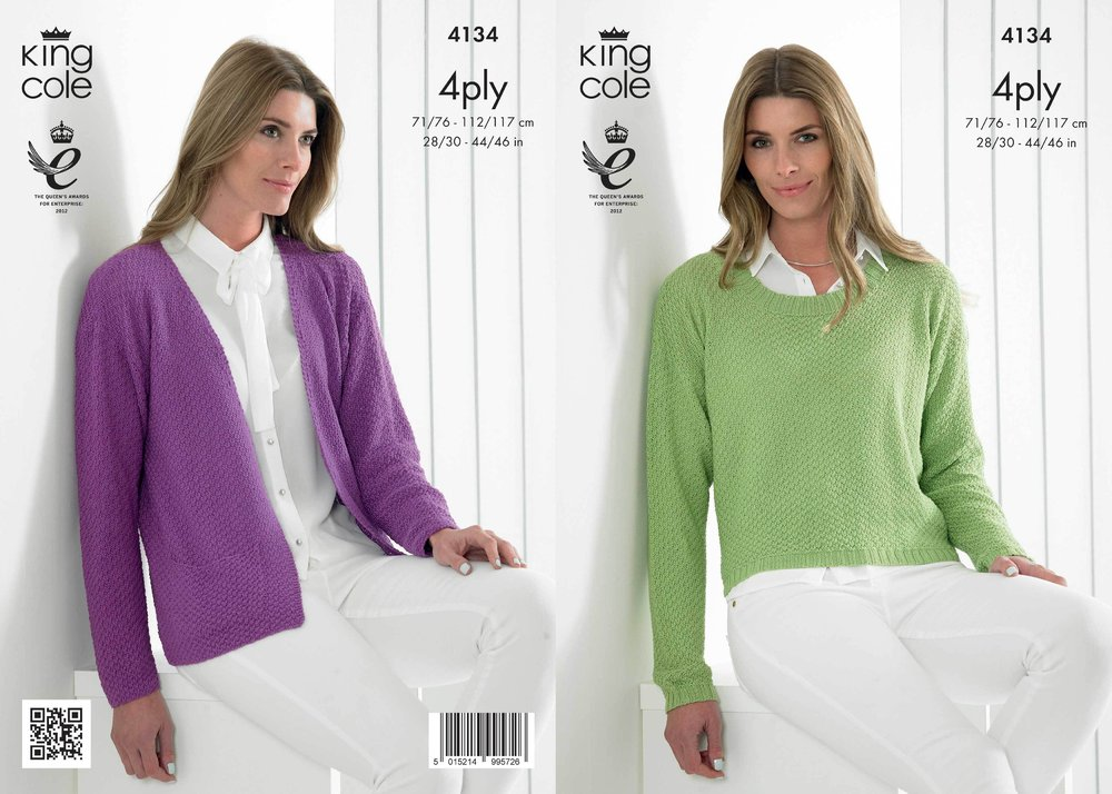 King Cole 4134 Knitting Pattern Ladies Edge To Edge Jacket And