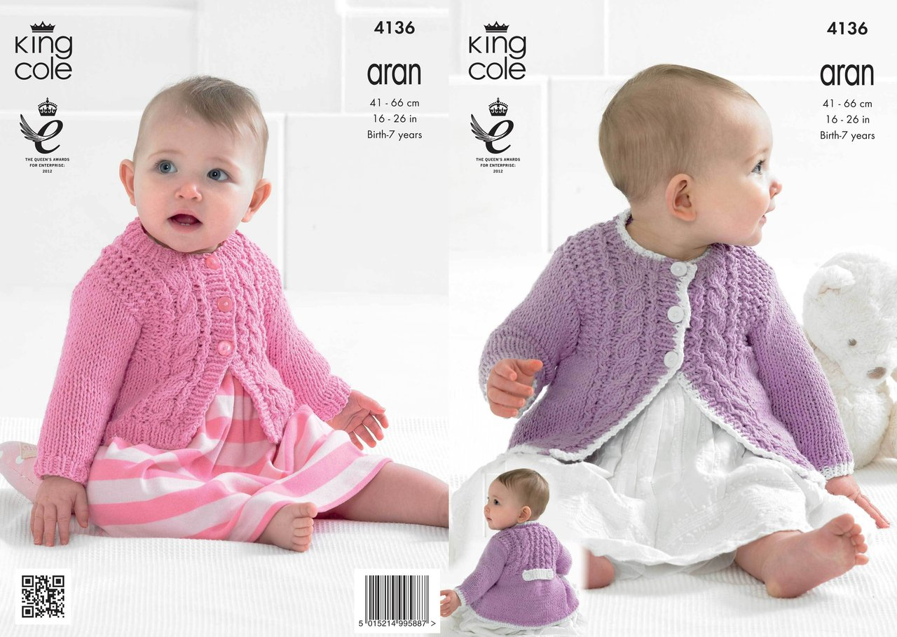 Knitting Patterns In Aran For Babies : King Cole 4136 Knitting Pattern Babies Coat and Cardigan in Big Value Recycle...