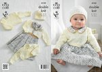 King Cole 4153 Knitting Pattern Baby Cropped Cardigans, Cropped Top and Hat in Big Value Baby DK