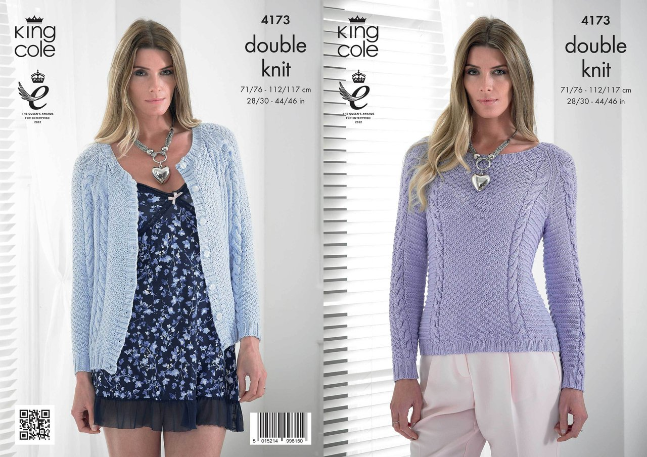 King Cole 4173 Knitting Pattern Cardigan and Sweater in King Cole ...