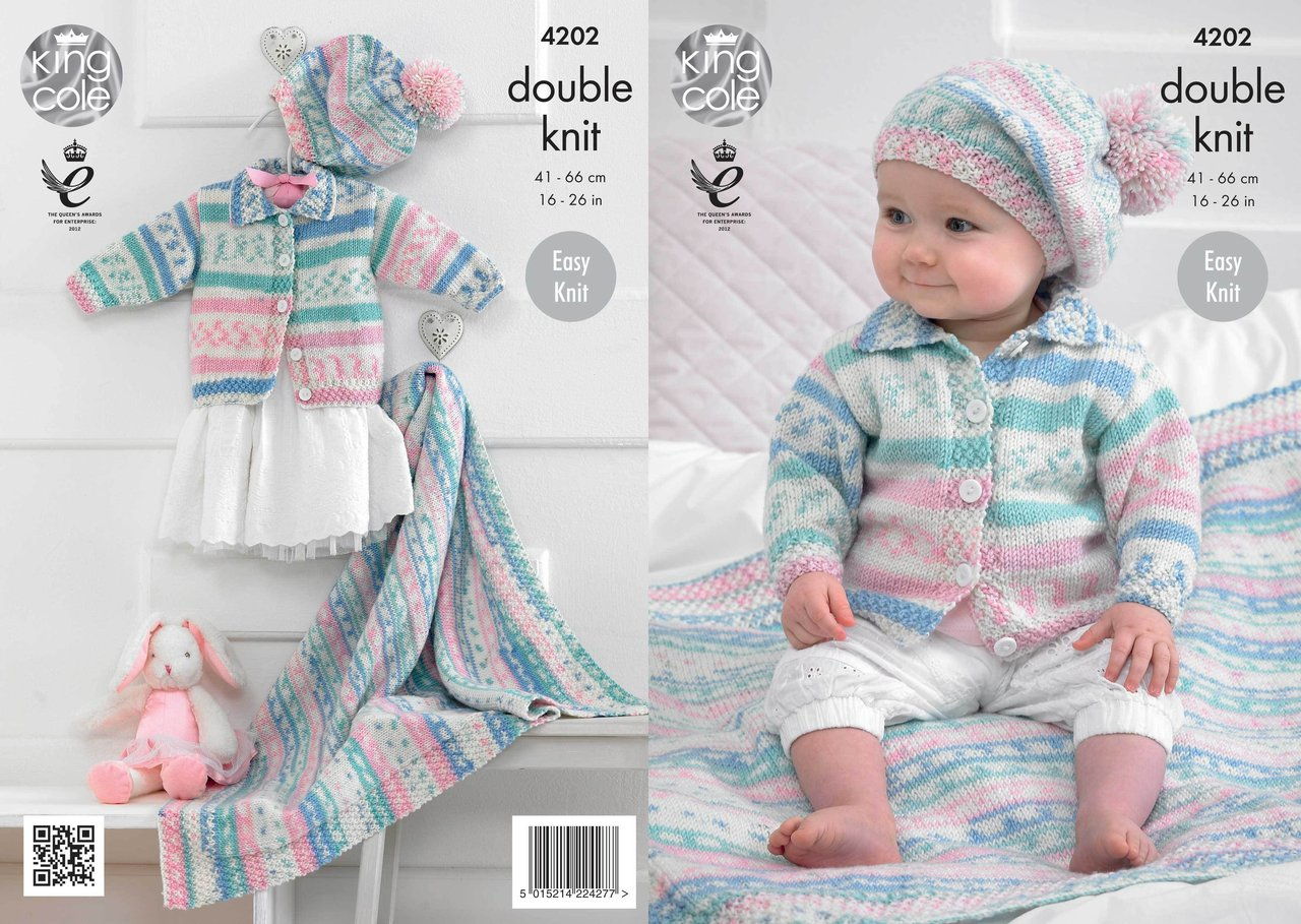 King Cole 4202 Knitting Pattern Babies Cardigan Blanket
