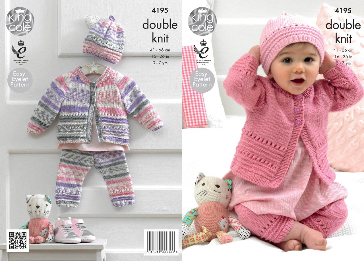King Cole 4195 Knitting Pattern Coat, Hat and Leggings in King Cole Cherish a...