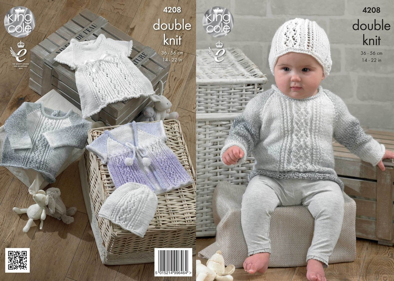 King Cole 4208 Knitting Pattern Baby Set in King Cole DK - Athenbys