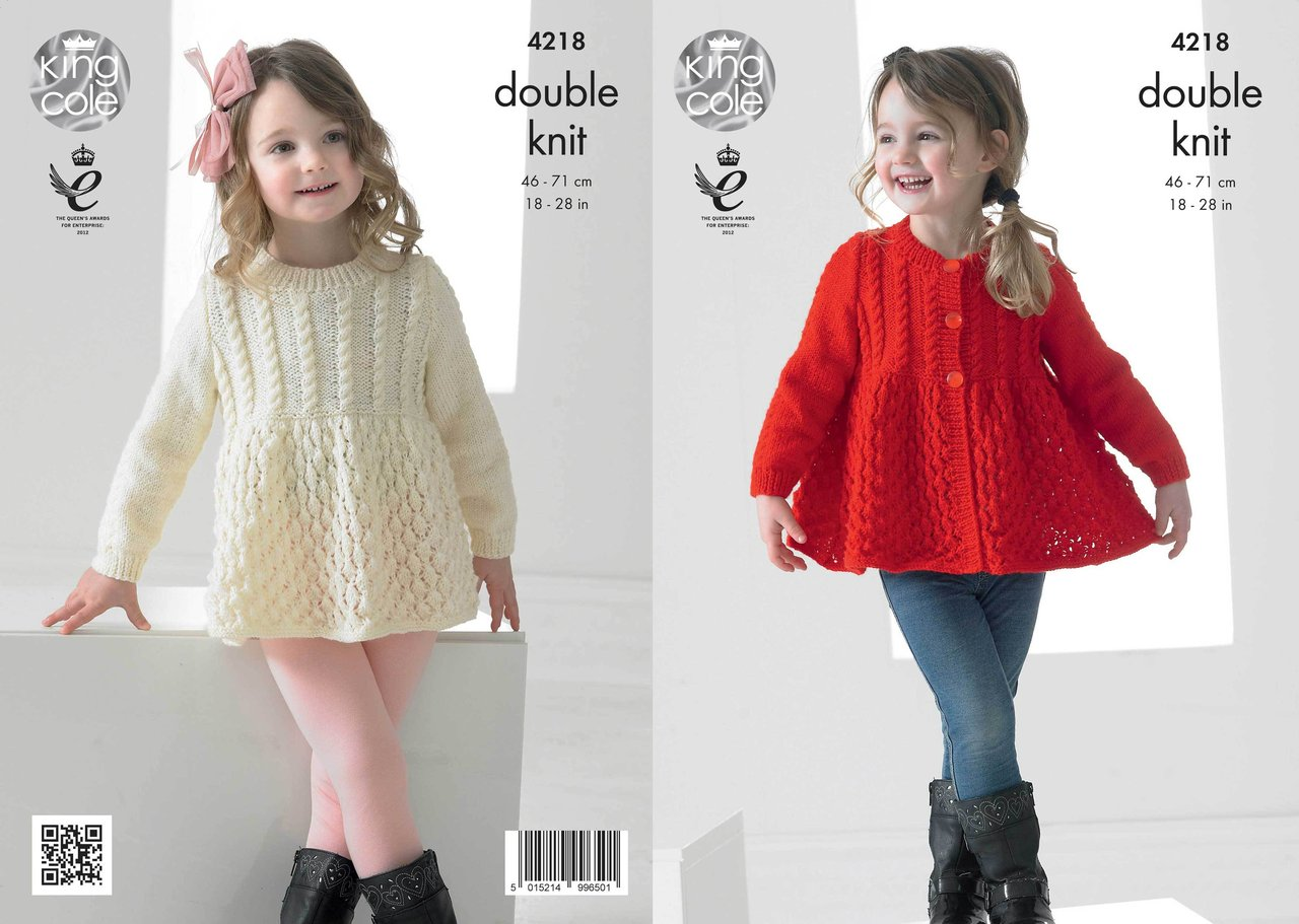 King Cole 4218 Knitting Pattern Girls Lace Cardigan and Sweater in ...