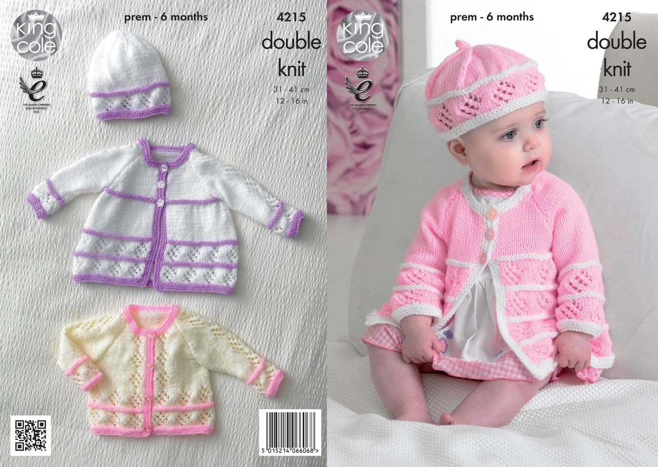 King Cole 4215 Knitting Pattern Matinee Coats, Cardigan, Beret and Hat in Kin...