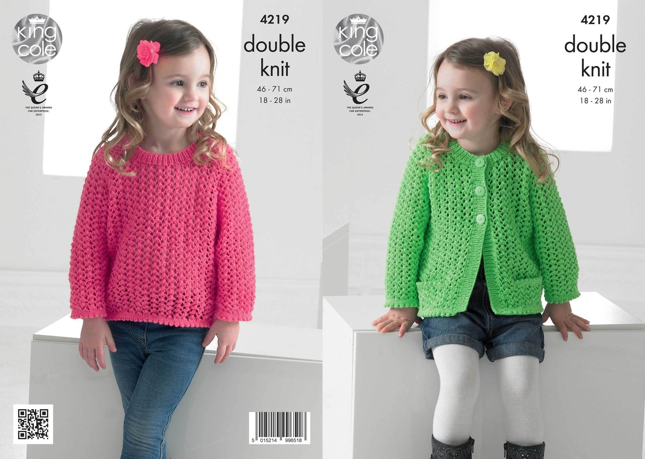 King Cole 4219 Knitting Pattern Girls Lace Cardigan and Sweater in ...