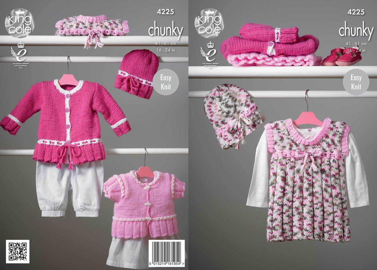 Knitting Pattern Pinafore Dress : King Cole 4225 Knitting Pattern Pinafore Dress, Cardigans and Hat in King Col...