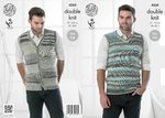King Cole 4260 Knitting Pattern Mens Slipover and Waistcoat in King Cole Drifter DK