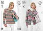 King Cole 4250 Knitting Pattern Cardigan and Sweater in King Cole Drifter DK