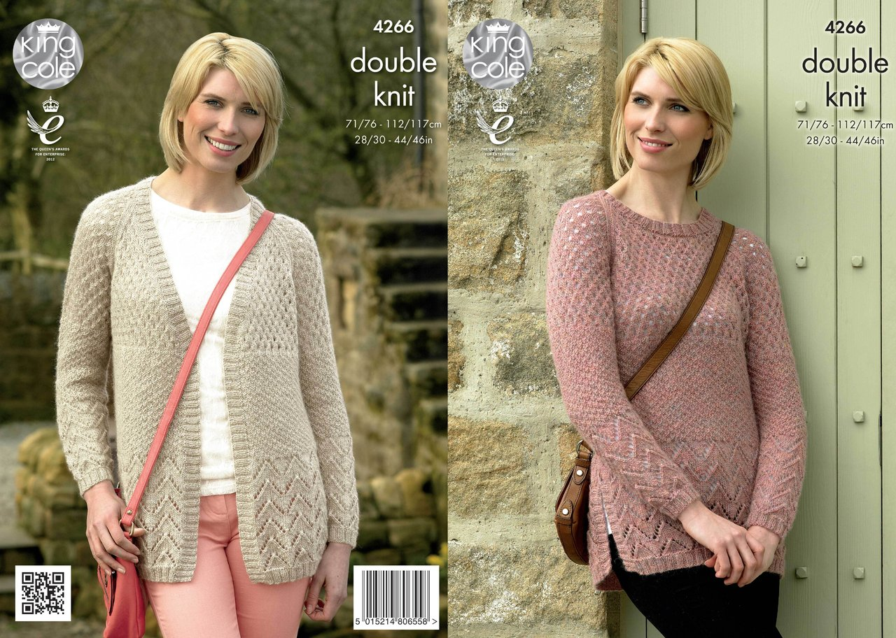 92d391b80525 King Cole 4266 Knitting Pattern Cardigan and Sweater in Panache DK -  Athenbys