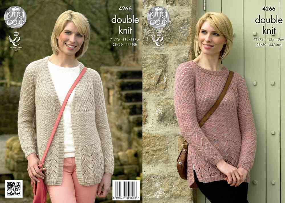 King Cole 4266 Knitting Pattern Cardigan And Sweater In Panache Dk