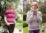 King Cole 4289 Knitting Pattern Sweater and Cowl in Big Value Super Chunky Tints