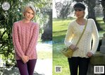 King Cole 4278 Knitting Pattern Cabled Raglan Cardigan & Sweater in New Magnum Chunky