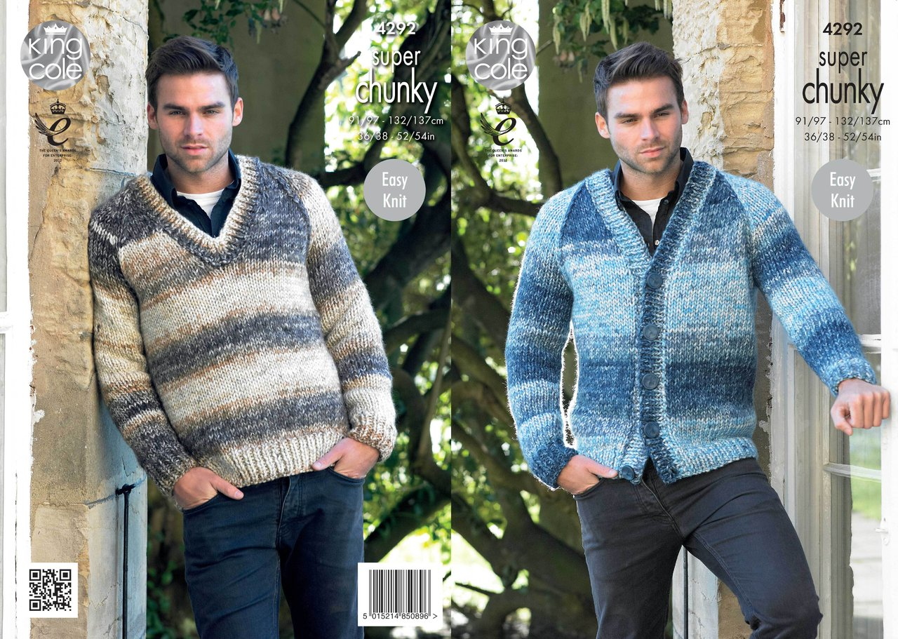 a28198cfe King Cole 4292 Knitting Pattern Mens V Neck Sweater and Cardigan in Big  Value Super Chunky Tints - Athenbys