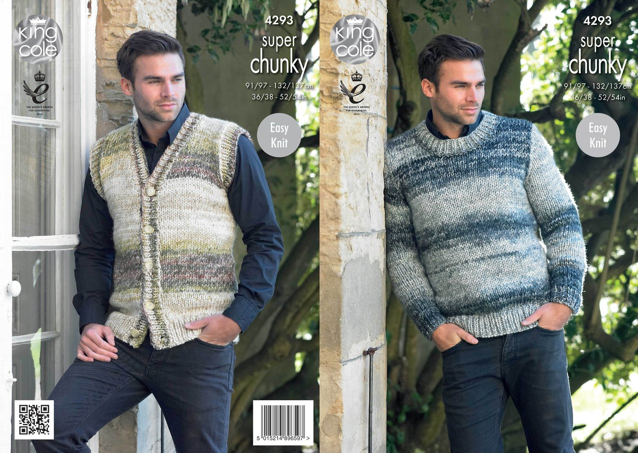 King cole 4293 knitting pattern mens waistcoat round neck king cole 4293 knitting pattern mens waistcoat round neck sweater in big value super chunky bankloansurffo Gallery