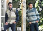 King Cole 4293 Knitting Pattern Mens Waistcoat & Round Neck Sweater in Big Value Super Chunky Tints