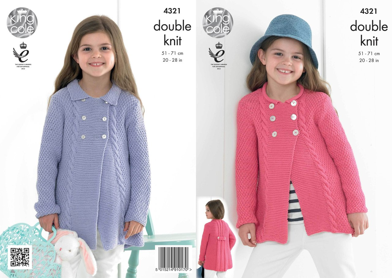 Knitting Patterns For King Cole Bamboo Cotton : King Cole 4321 Knitting Pattern Cardigans in King Cole Bamboo Cotton DK - Ath...