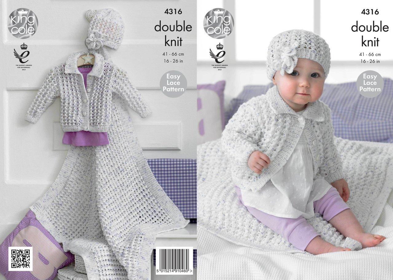 Knitting Pattern For Blanket Cardigan : King Cole 4316 Knitting Pattern Girls Cardigan, Blanket and Hat in King ...