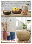 King Cole 4339 Knitting Pattern Crocheted Storage Bowls, Jar Covers and Pouffe in King Cole Raffia