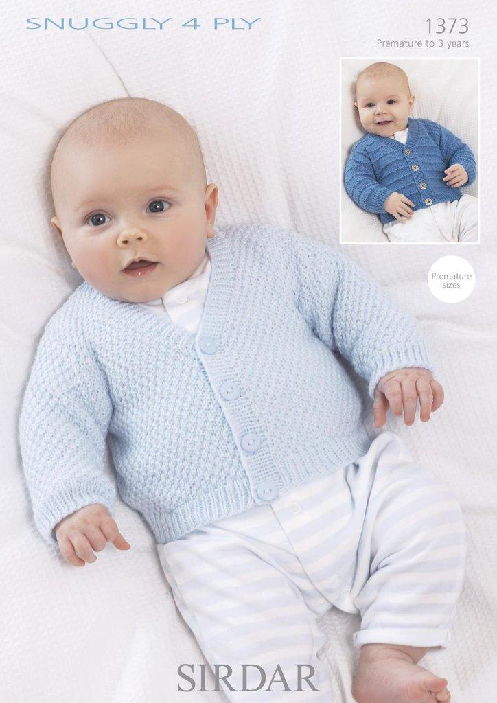 Sirdar 4 Ply Baby Knitting Patterns : Sirdar 1373 Knitting Pattern Baby Cardigans in Sirdar Snuggly 4 Ply - Athenbys