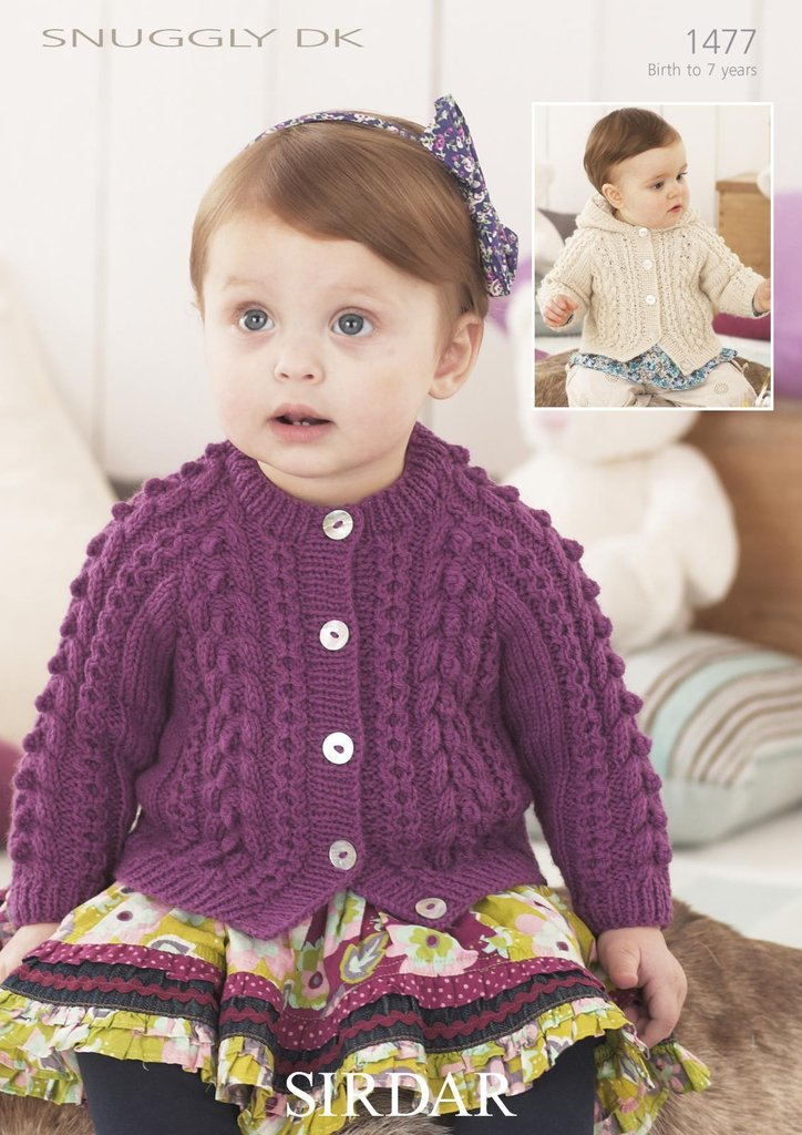 Sirdar 1477 Knitting Pattern Girls Cardigans In Sirdar Snuggly Dk