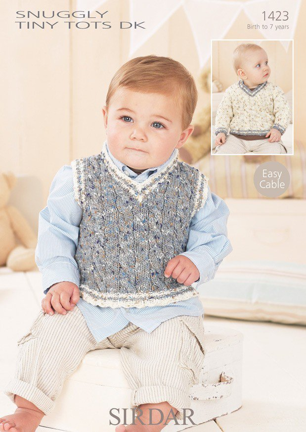 Sirdar Knitting Patterns For Children : Sirdar 1423 Knitting Pattern Baby Boys Sweater and Tank Top in Sirdar Snuggly...