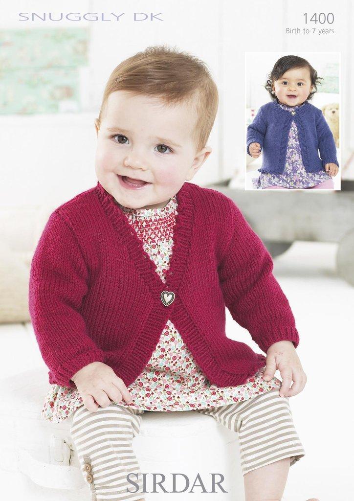 Sirdar 1400 Knitting Pattern Baby Cardigans In Sirdar Snuggly Dk