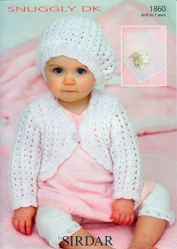 Sirdar 1860 Knitting Pattern Baby Girls Cardigan Beret And Blanket