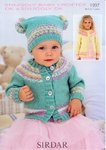 Sirdar 1997 Knitting Pattern Round Neck Cardie & T Bag Hat in Snuggly Baby Crofter DK & Snuggly DK