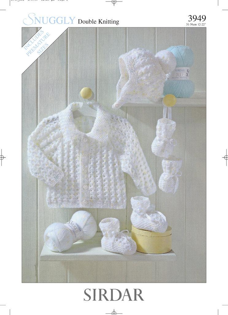 Sirdar 3949 Knitting Pattern Jacket Hat Bootees
