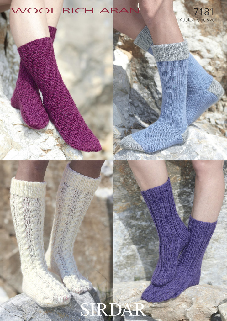 Knitting Pattern Wool Socks : Sirdar 7181 Knitting Patterns Socks to knit in Sirdar Wool Rich Aran - Athenbys