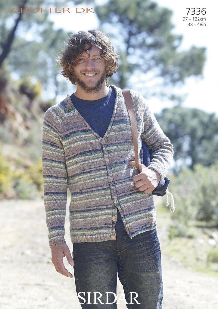 Sirdar 7336 Knitting Pattern Mens V Neck Cardigan in ...