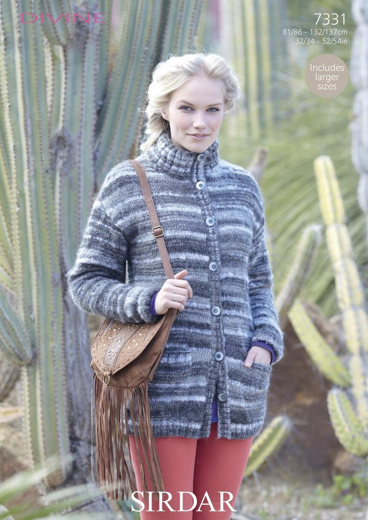 Sirdar 7331 Knitting Pattern Womens Jacket In Sirdar Divine Dk
