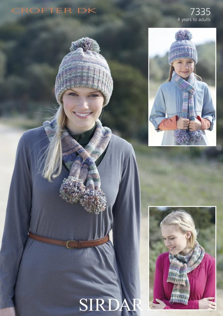 Sirdar 7335 Knitting Pattern Pull On Hat And Scarves With Pom Poms