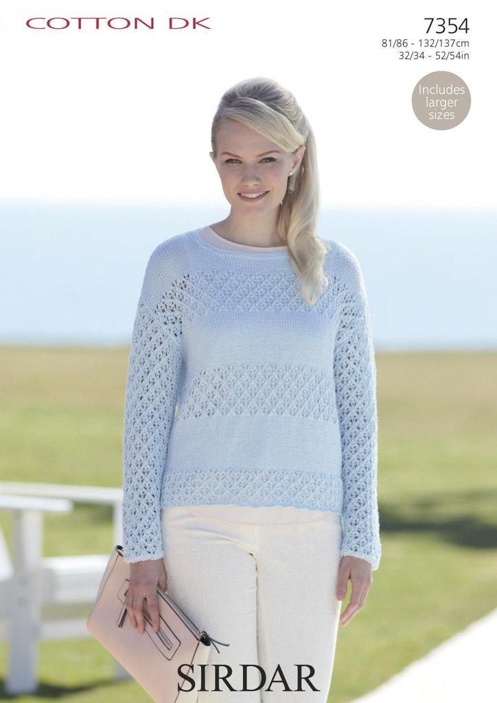 Sirdar 7354 Knitting Pattern Womens Round Neck Sweater In Sirdar