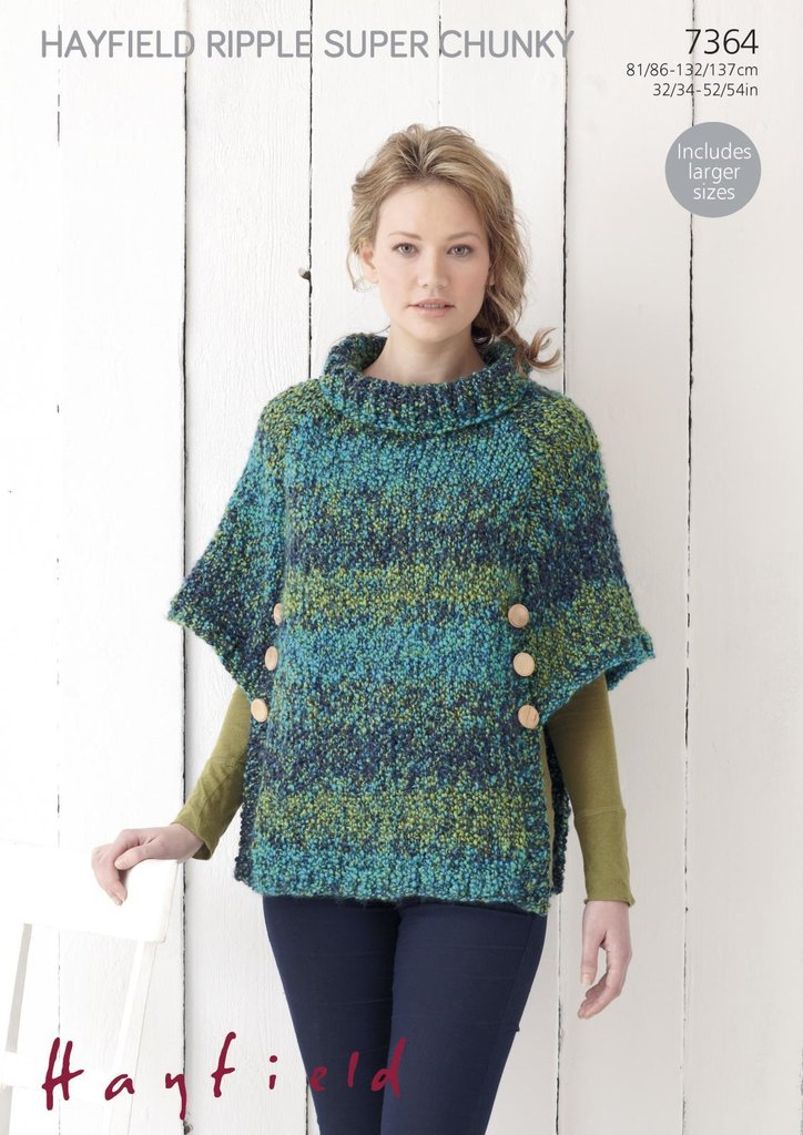 Sirdar 7364 Knitting Pattern Womens Poncho in Hayfield Ripple Super Chunky - ...