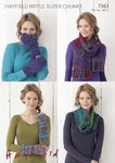 Sirdar 7363 Knitting Pattern Snood, Scarf, Wrist Warmers & Mittens in Hayfield Ripple Super Chunky